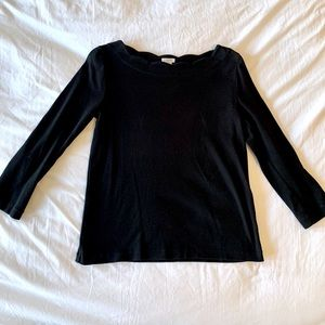 J Crew Scalloped Neck Black Shirt